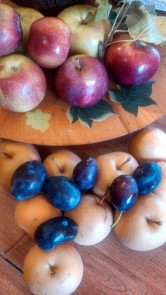 Close up of the macouns, asian pears and stanley plums.